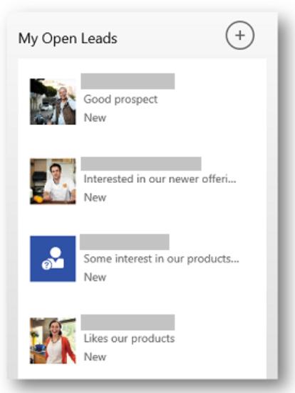 Microsoft Dynamics 365 mobile lead view