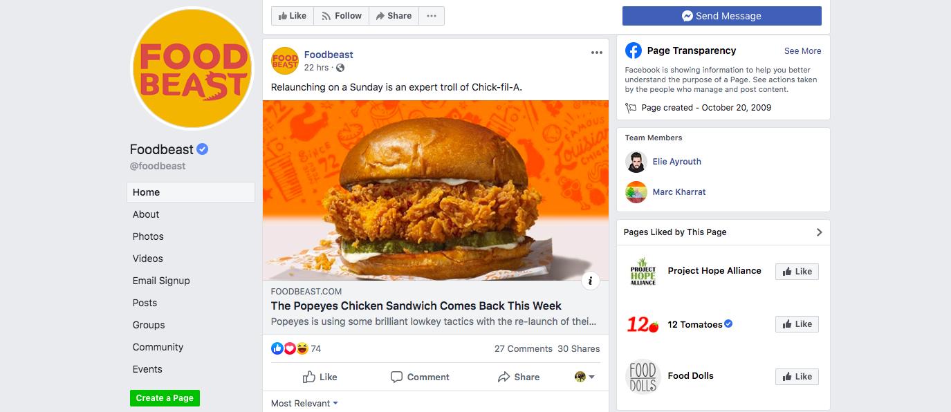 Food Beast Page in Facebook