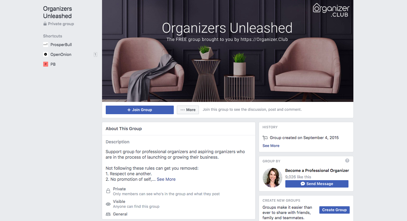 Organizers Unleashed Business Group Page