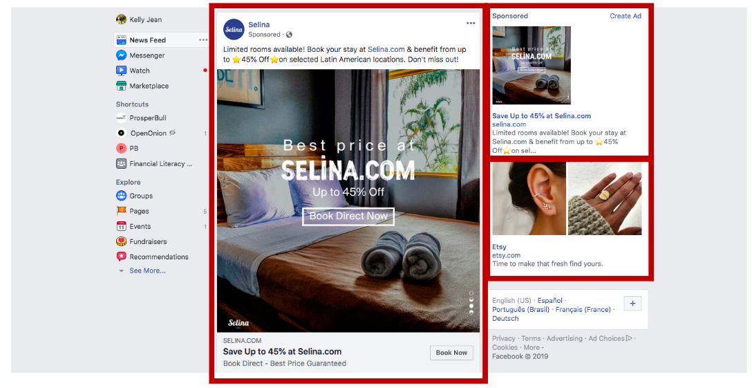 Facebook Newsfeed with Ads