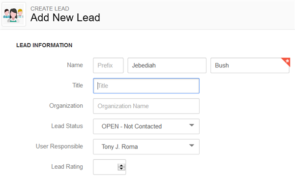 Insightly Screen for adding new leads