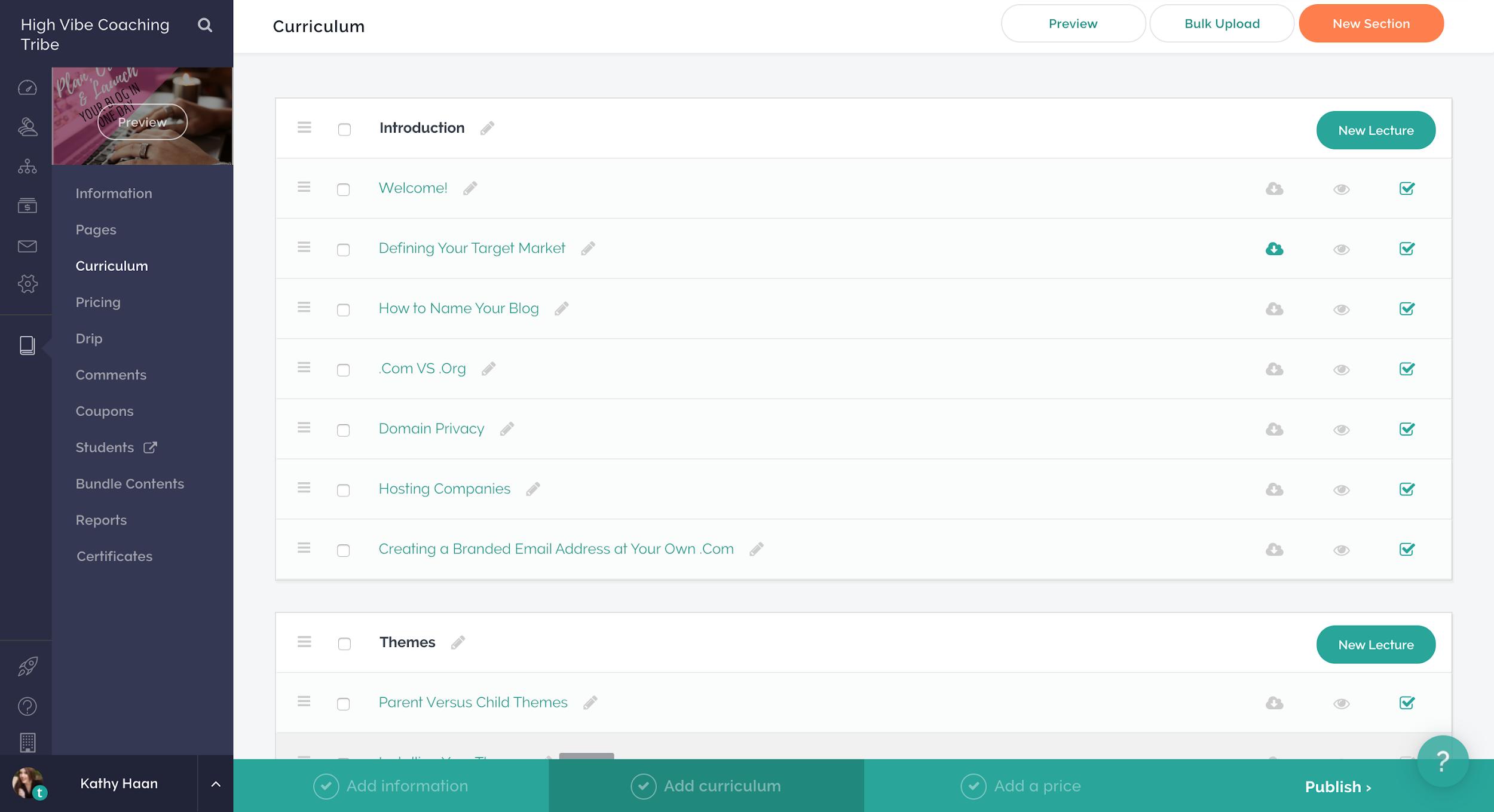 Teachable Dashboard with course list