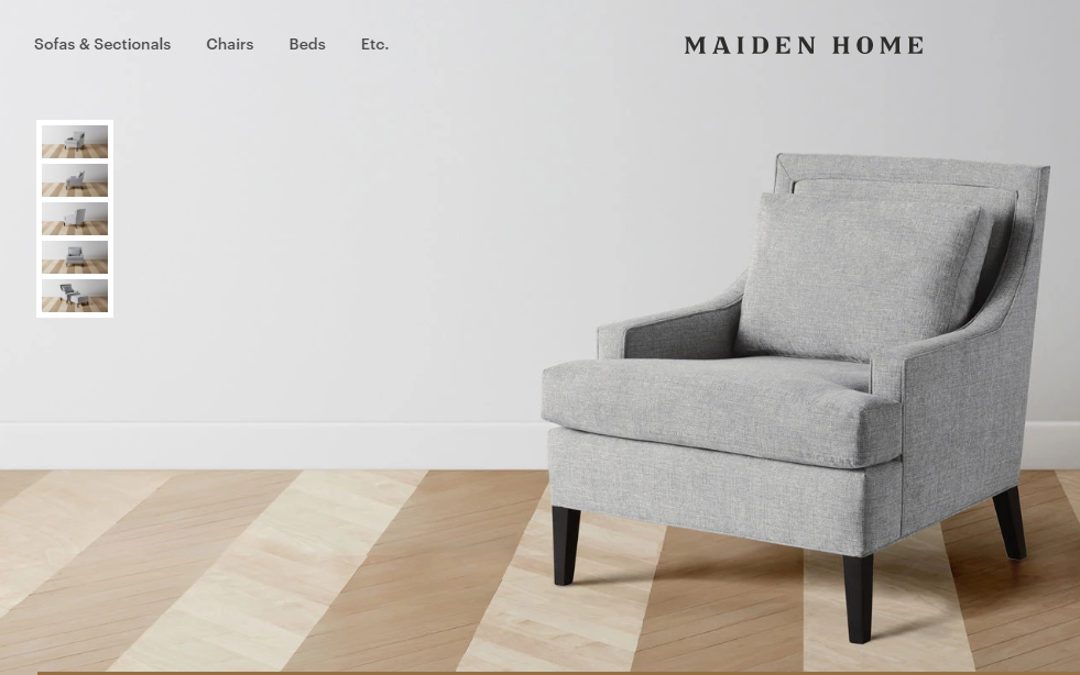 Maiden home product page showcasing a grey one-seater sofa