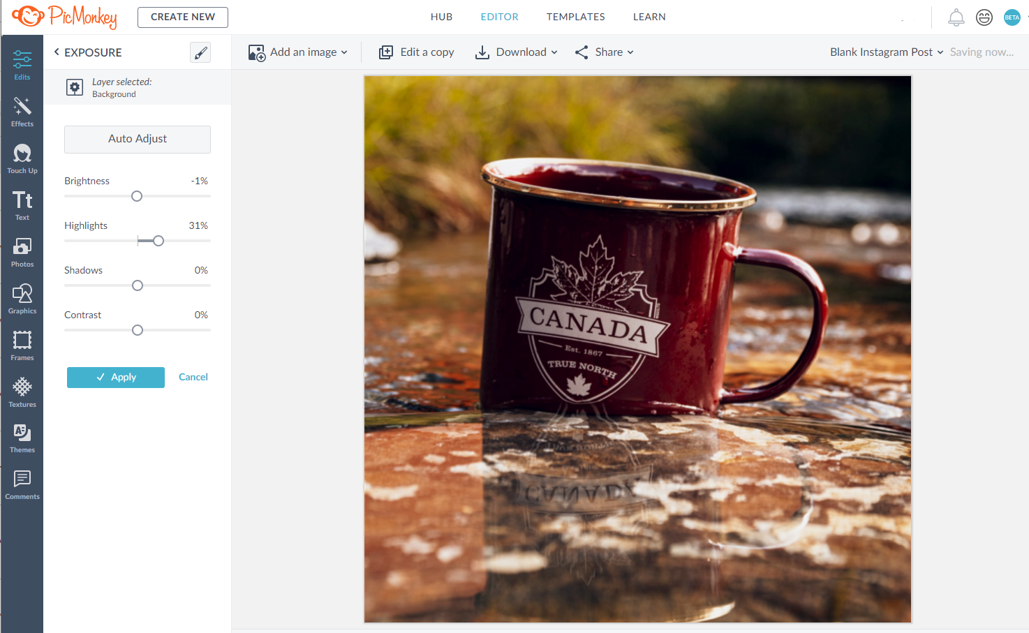 Editing Mug image in PicMonkey Dashboard