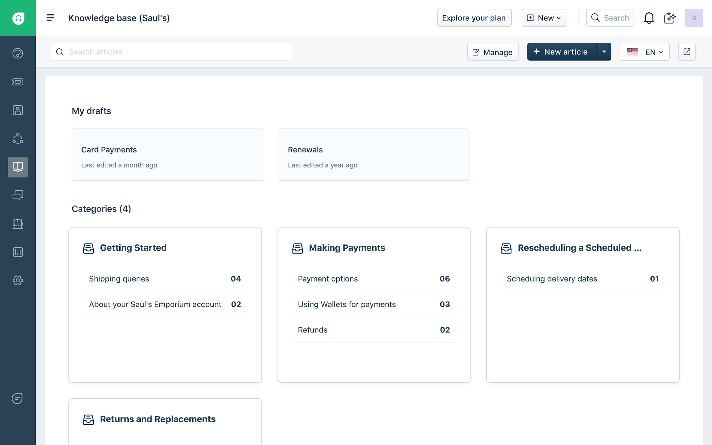 Freshdesk Knowledge base interface