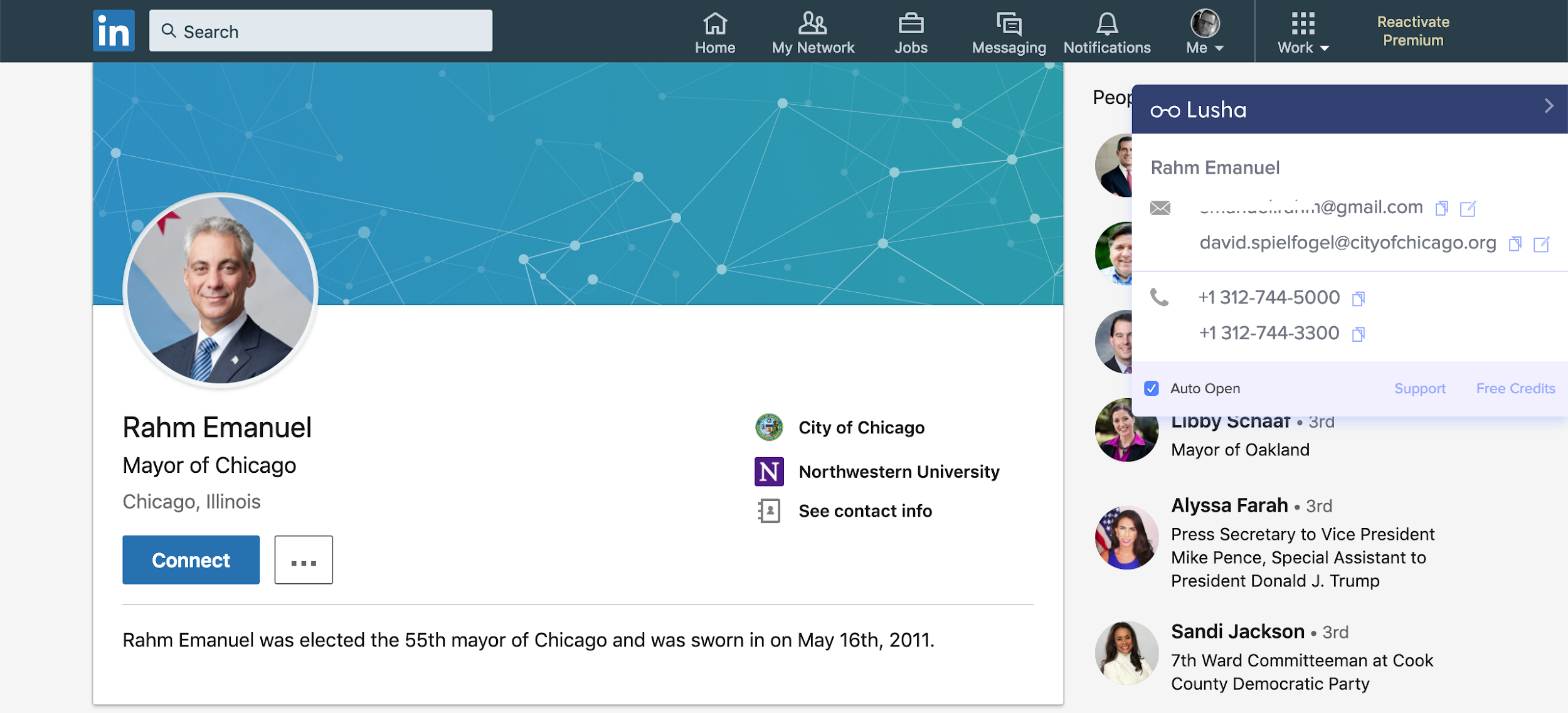 Rahm Emmanuel's LinkedIn account with Lusha browser widget