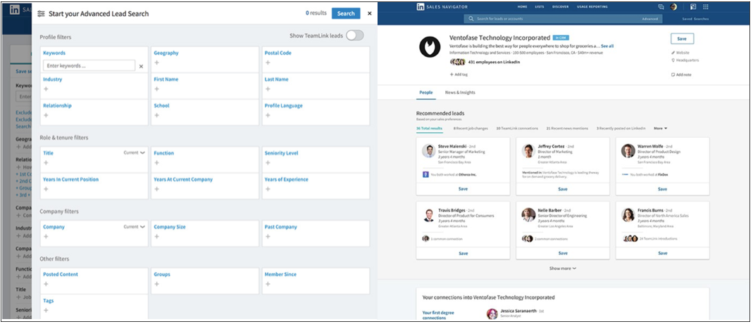 LinkedIn Sales Navigator Advanced Lead Search Interface screenshot
