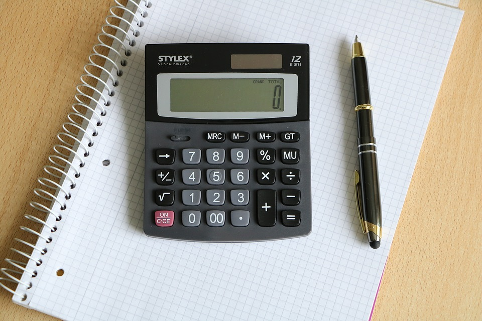 A graphing book, calculator and a pen