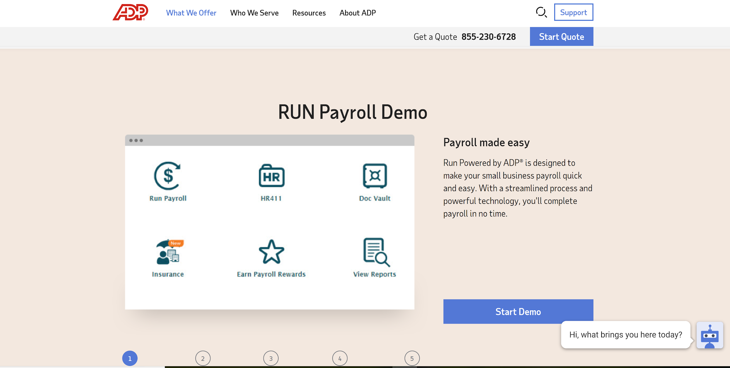 RUN Payroll Demo Page from ADP