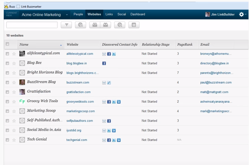 BuzzStream Dashboard with list of blog sites