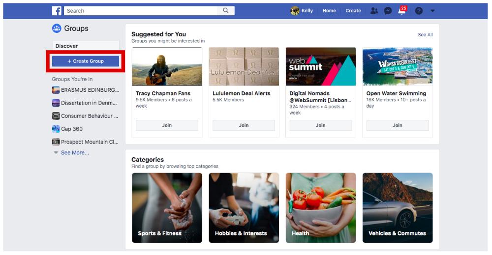 criando um novo grupo em grupos do facebook