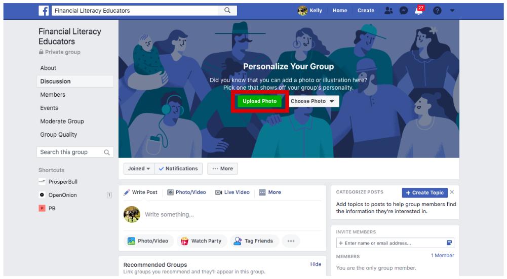 Adicionar uma foto de capa a um grupo do Facebook para empresas