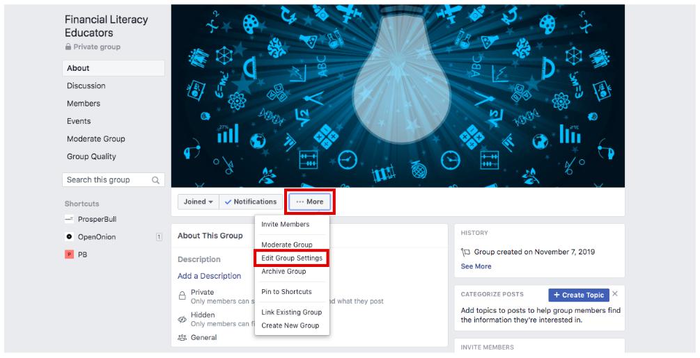 Editar configurações de grupo para o grupo do facebook