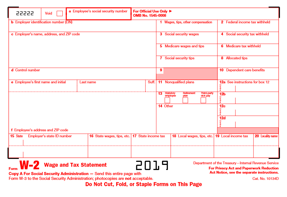 Sample of w-2 wage and tax statement