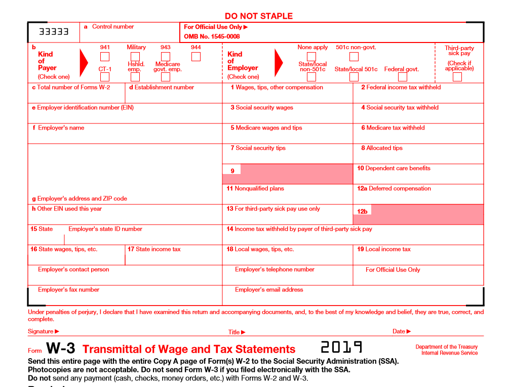 Sample of w-3 Transmittal of Wage and Tax Statements