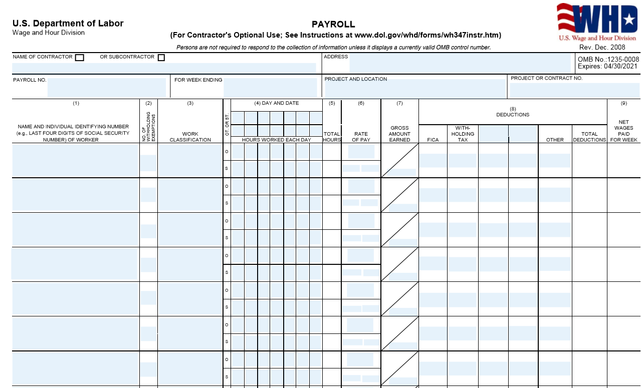 Sample of Form WH-347: Certified Payroll