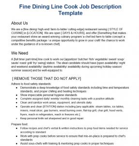 Fine Dining Line Cook Job Description Template