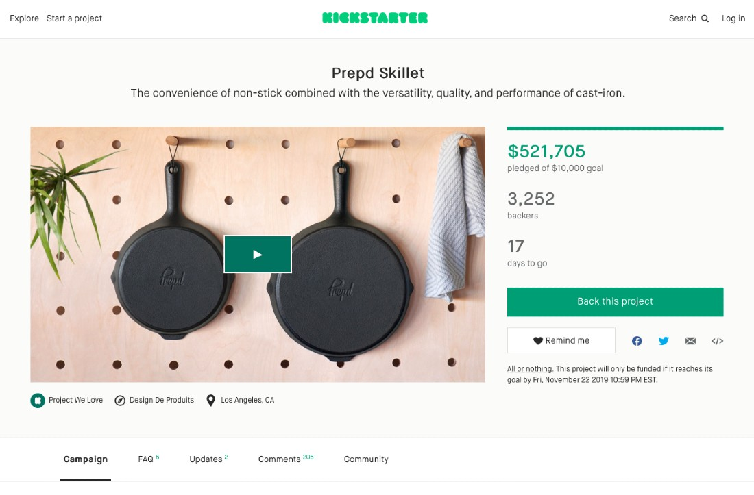 Screenshot of Prepd Skillet on Kickstarter
