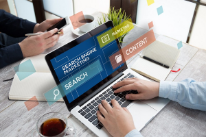 search engine marketing on laptop screen