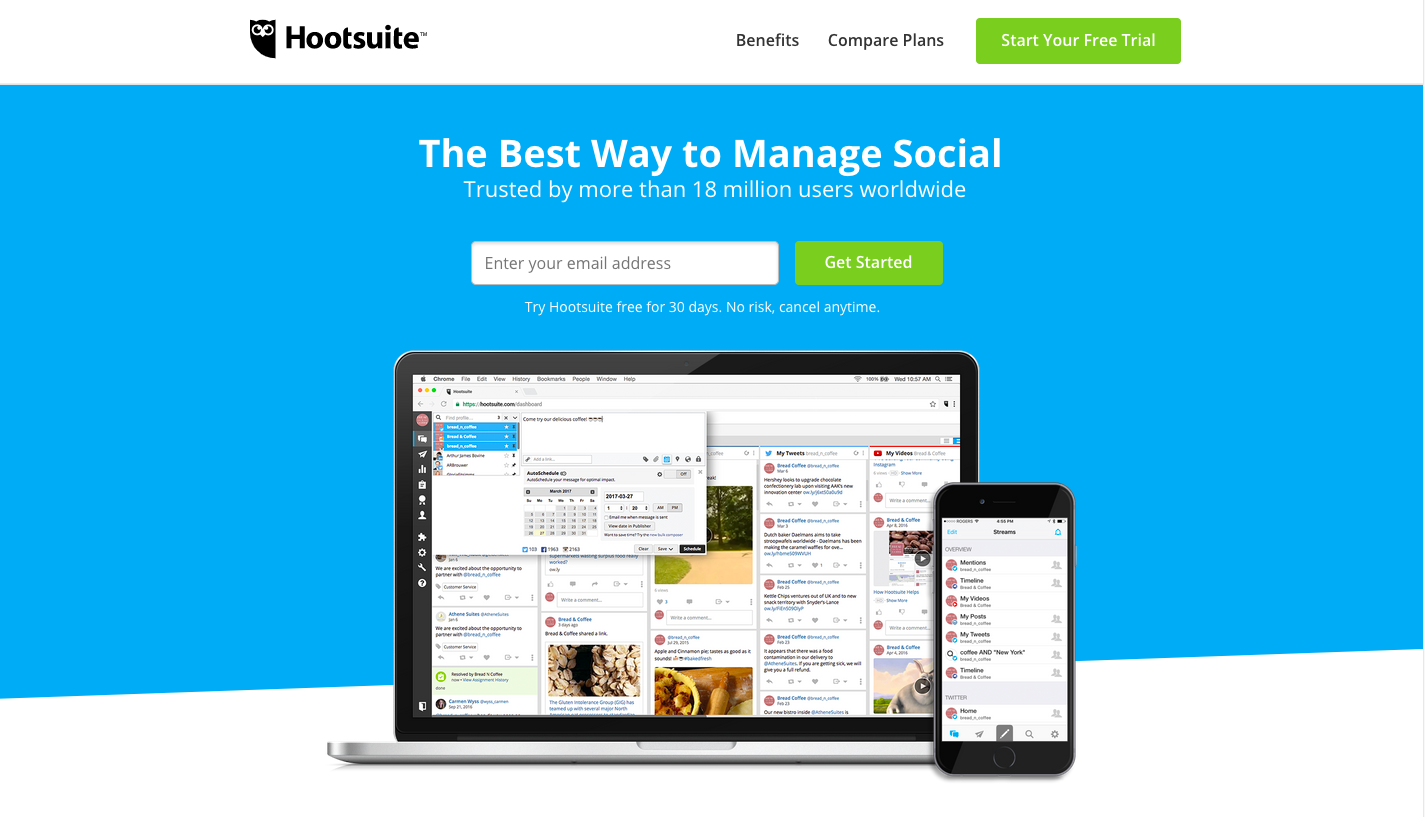 Hootsuite landing page