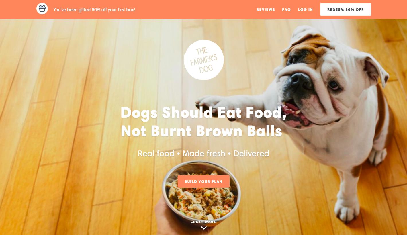 La landing page di The Farmer's Dog