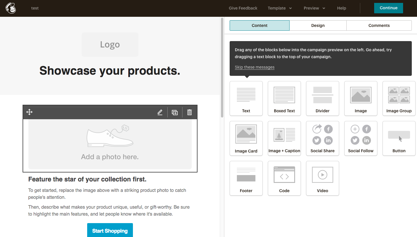 MailChimp Email Marketing Interface