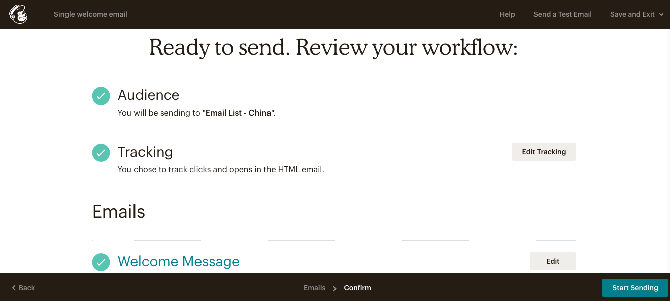 Sending of New Email Campaign Using MailChimp