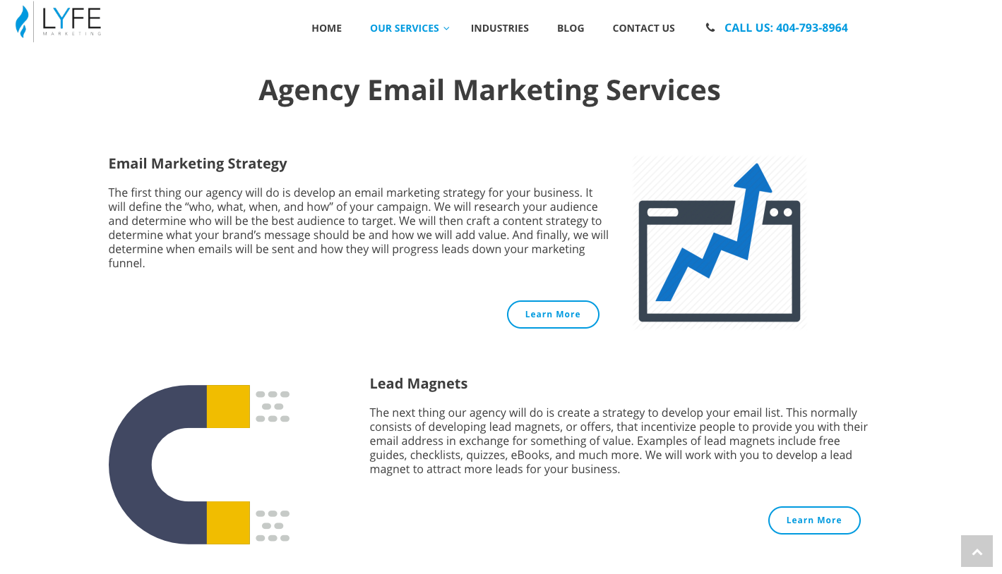 Lyfe's Agency Email Marketing Services page