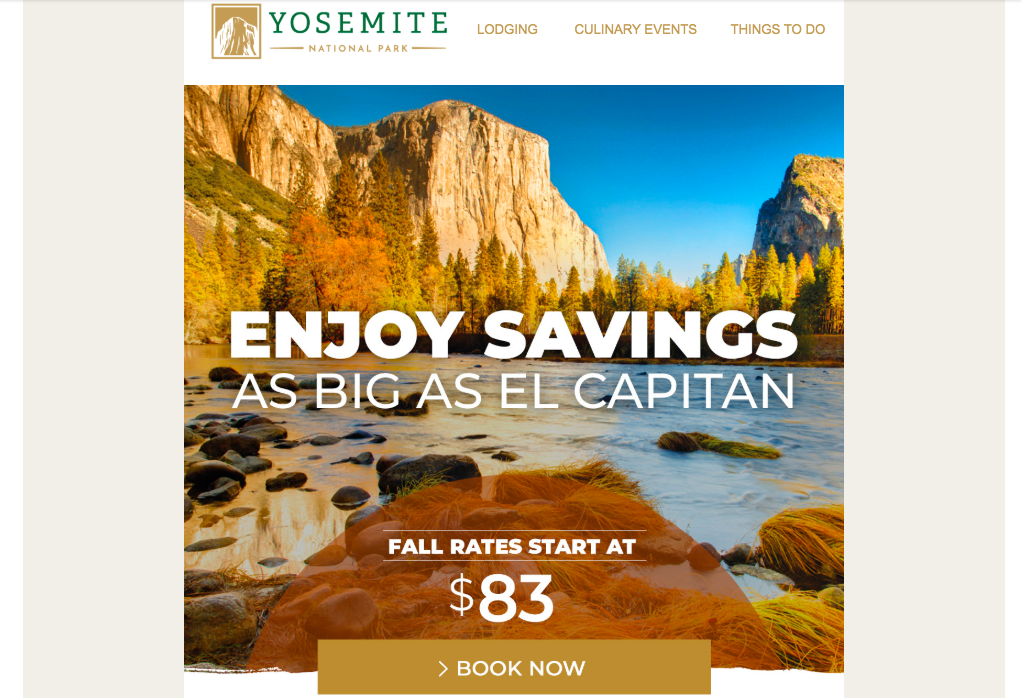 Yosemite National Park's Booking page