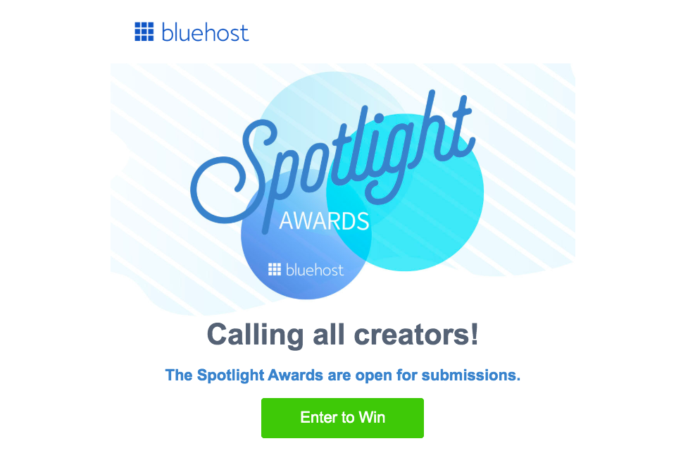 Bluehost Spotlight Awards contest page