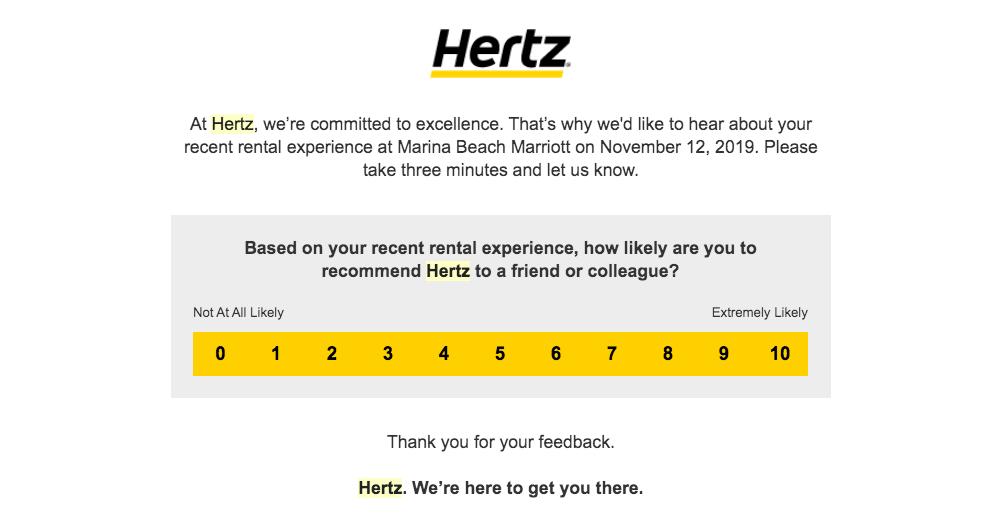 Hertz feedback page