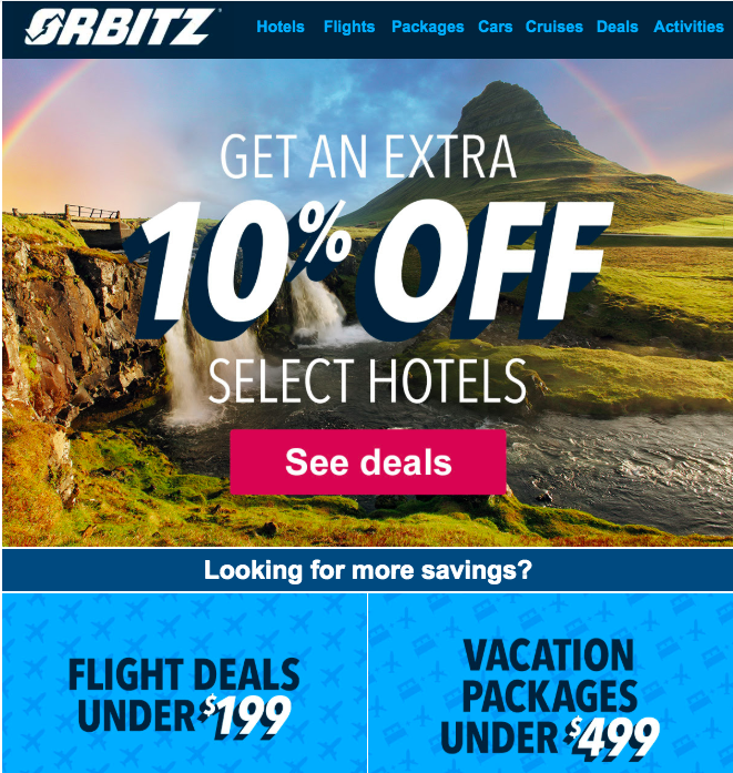 Orbitz Discount page offering 10% off