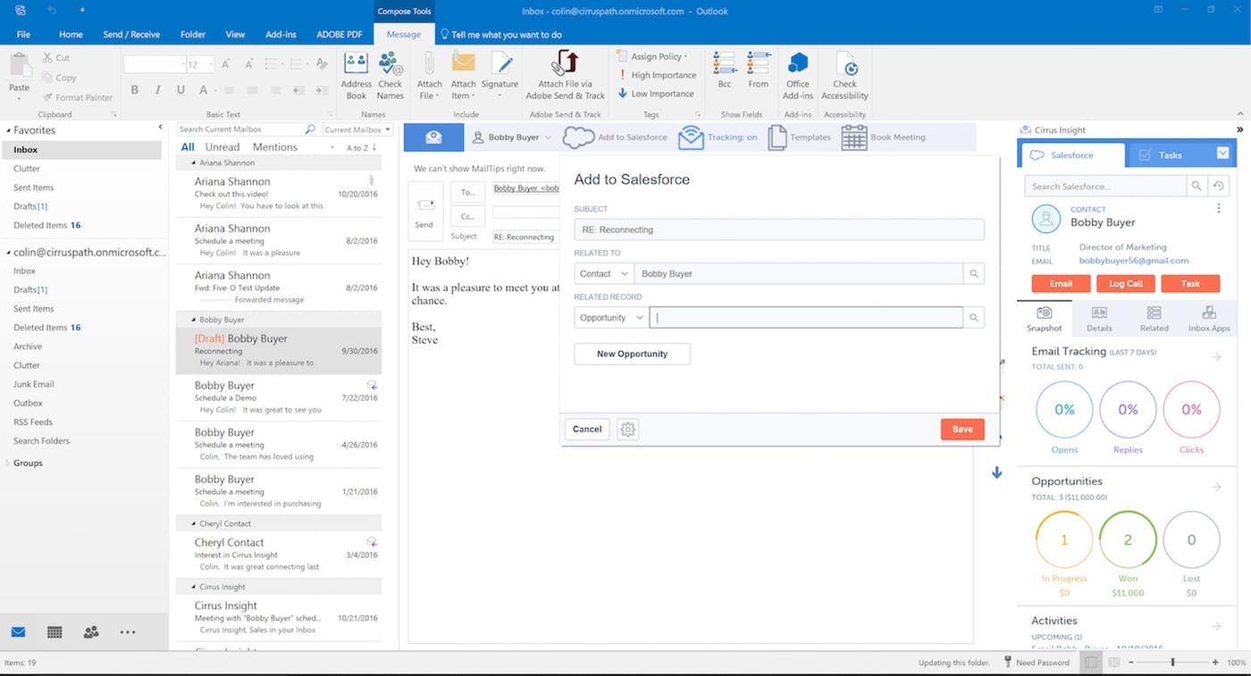 Cirrus Insight inbox organization