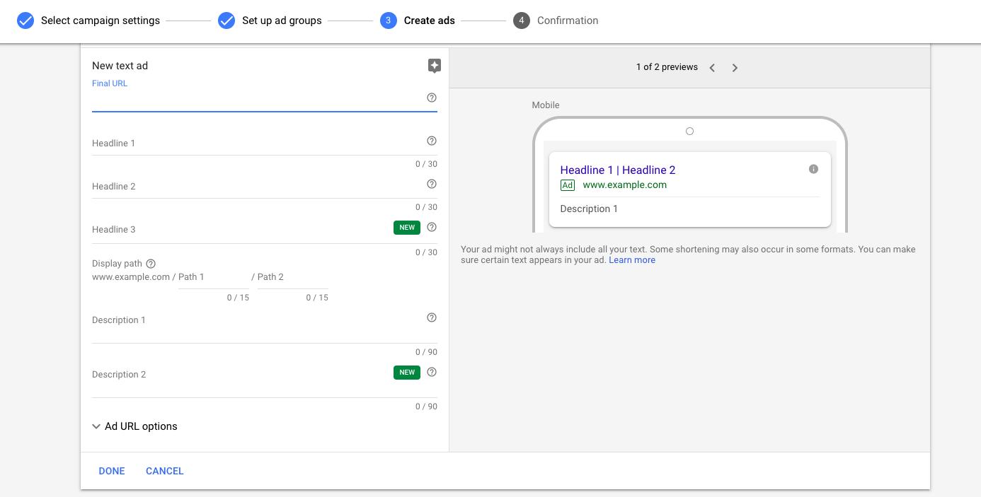 Escreva um novo anúncio do Google