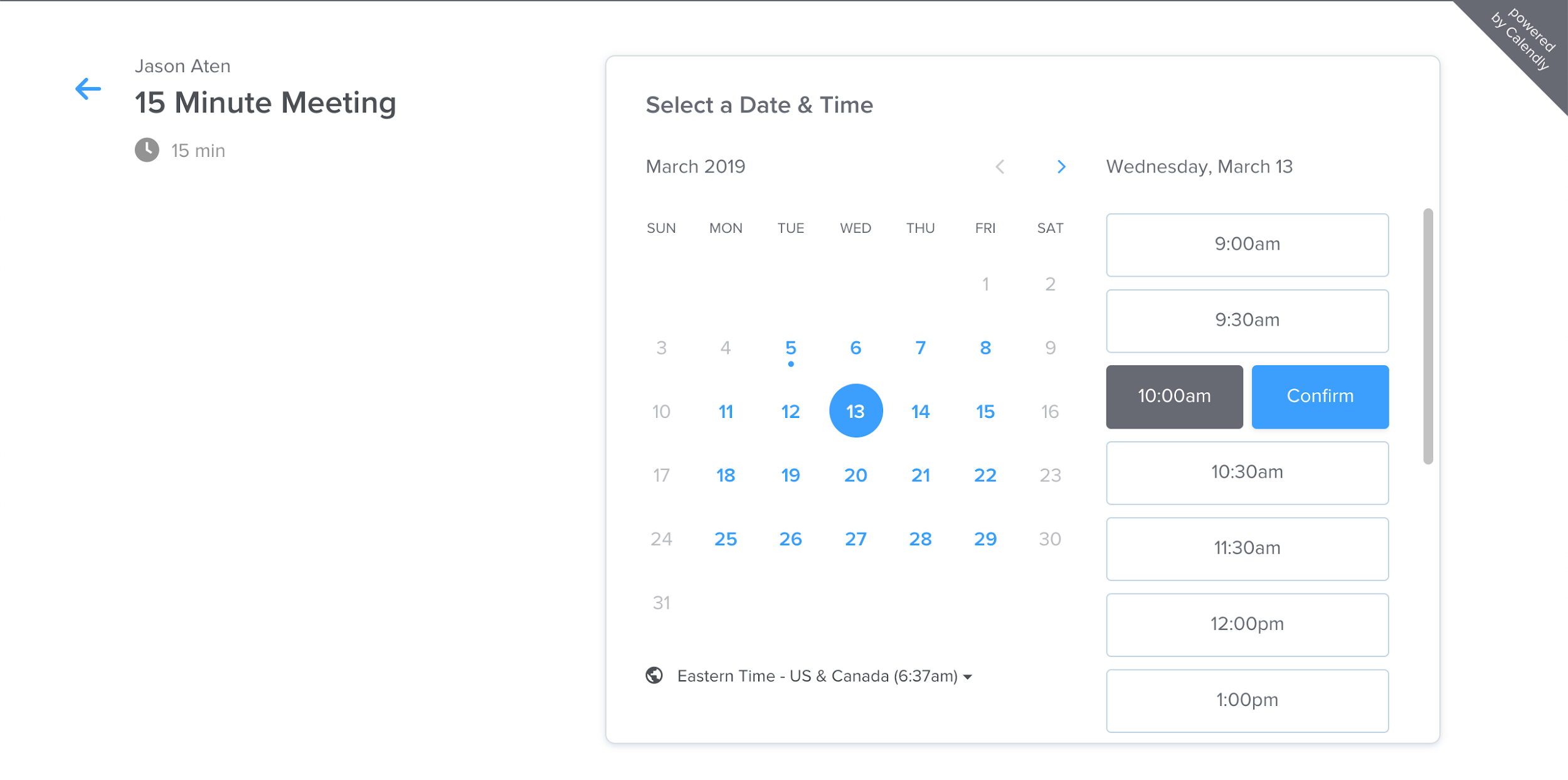 Calendly self-scheduling interface