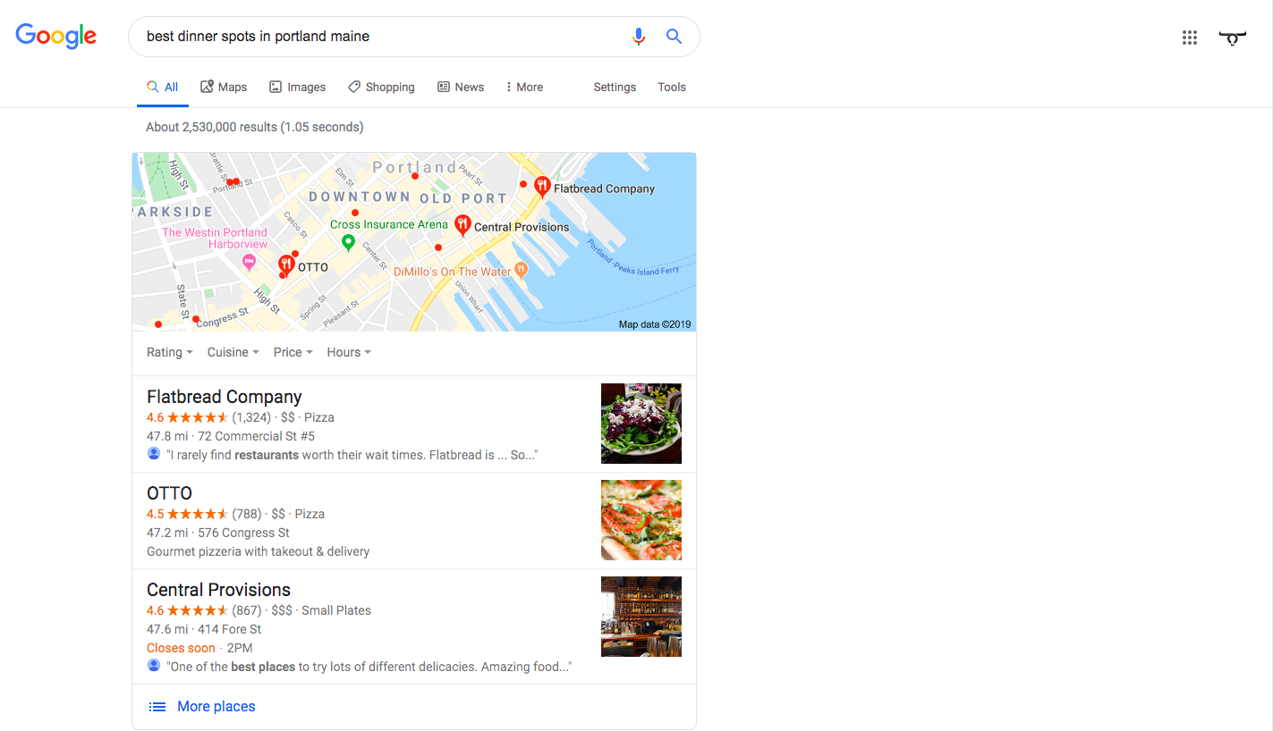 Google Local Search Engine Results