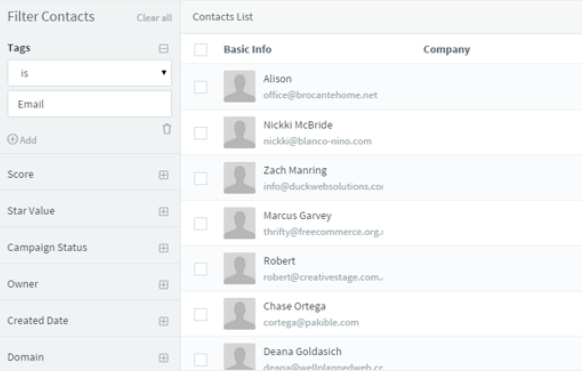 Agile CRM Filter Contacts interface