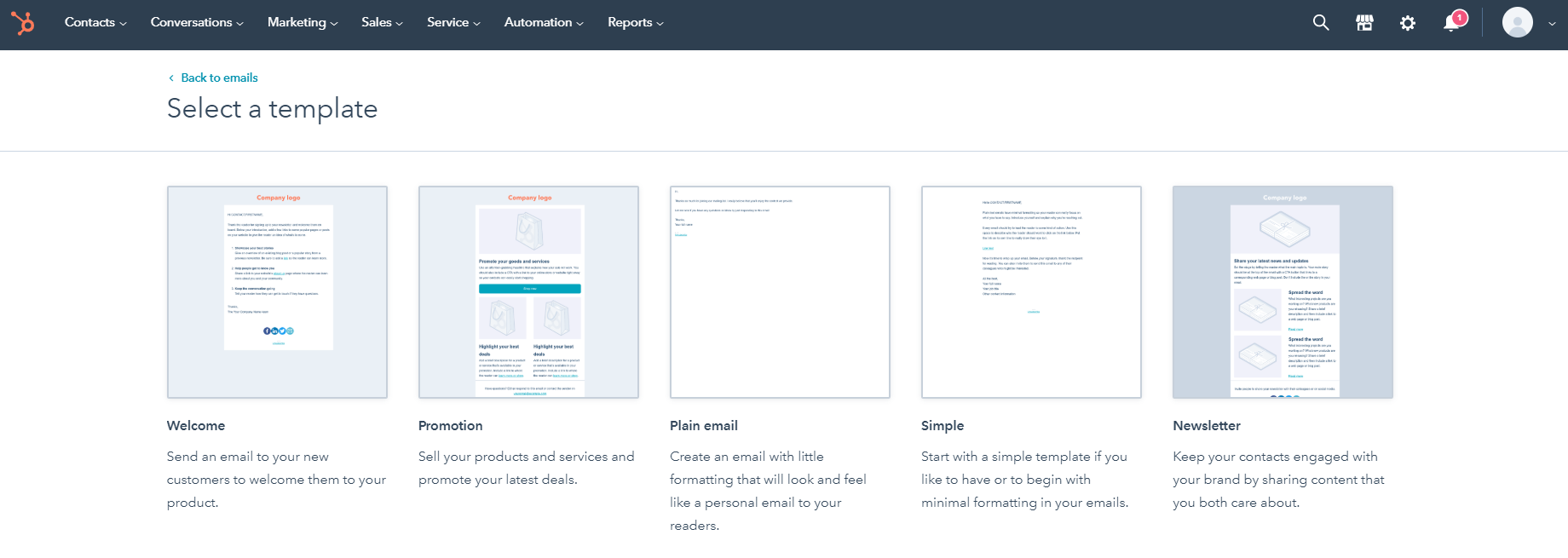 HubSpot email templates menu interface
