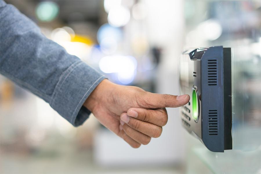 Employee using attendance biometrics