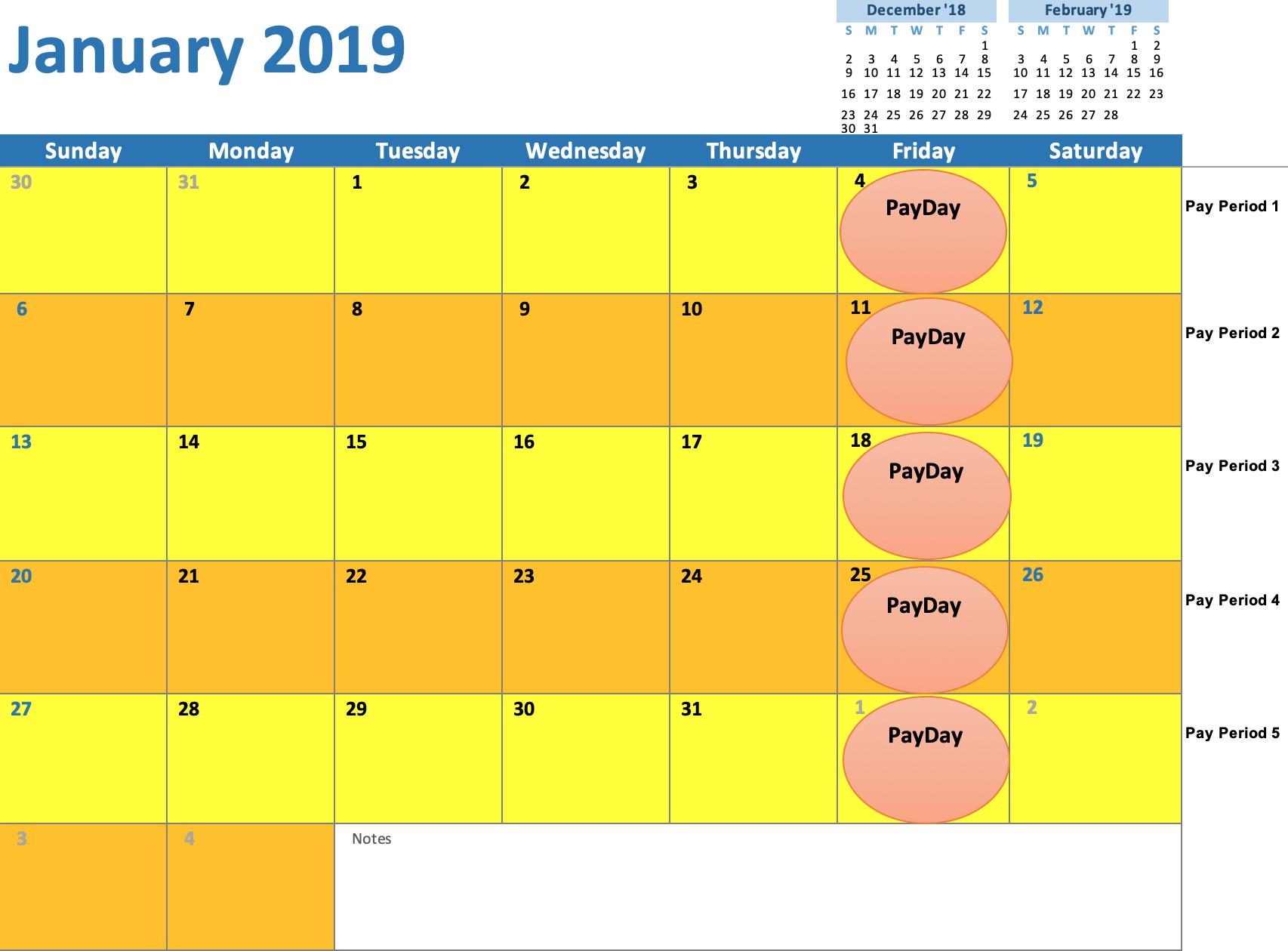 January 2019 Weekly Calendar