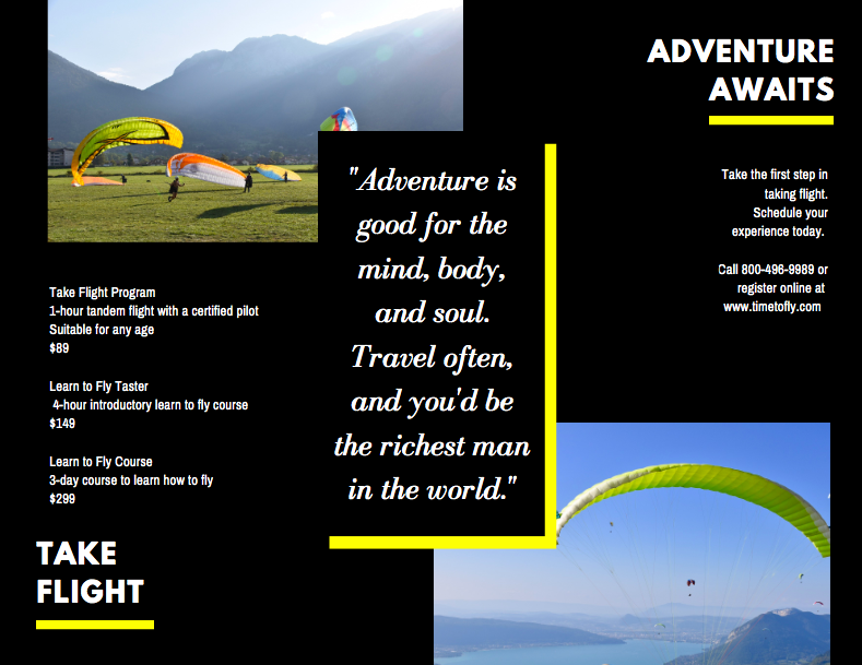 Canva - Adventure Sports Brochure Side 2 Example