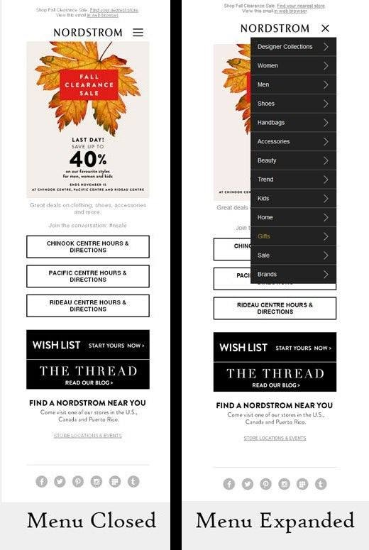 Nordstrom Email Example - Interactive Menu