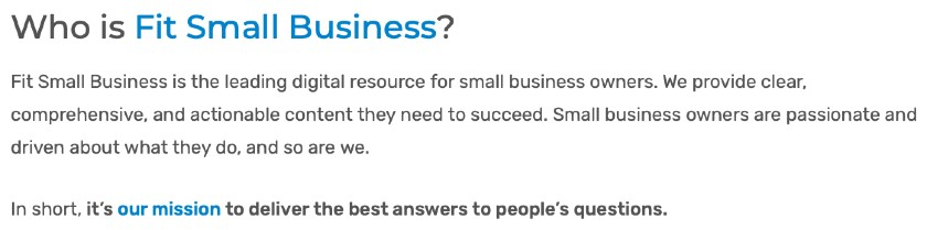 Screenshot of Fit Small Business Mission Statement