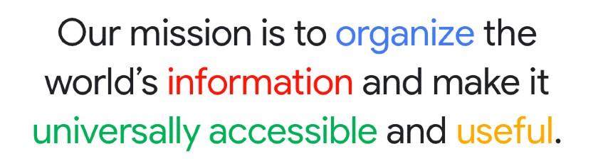 Screenshot of Google Mission Statement