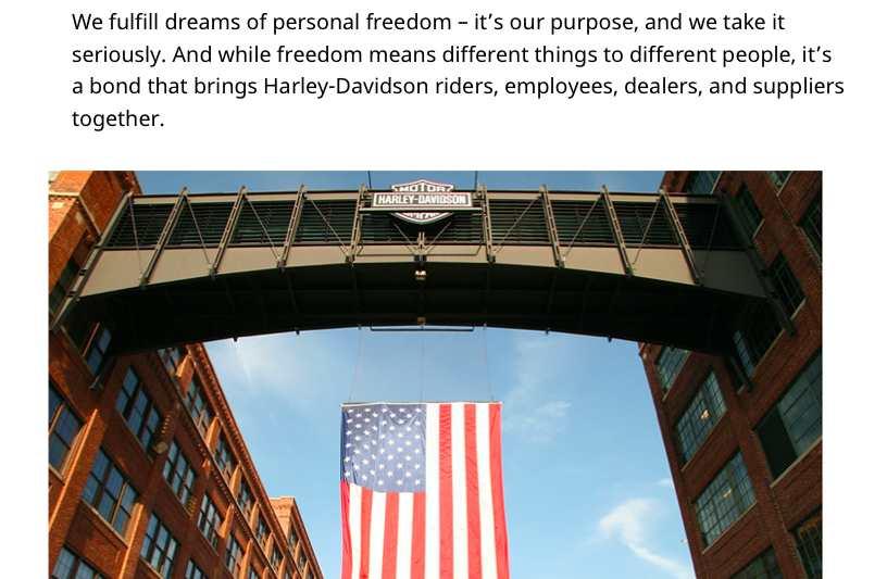 Screenshot of Harley Davidson Mission Statement