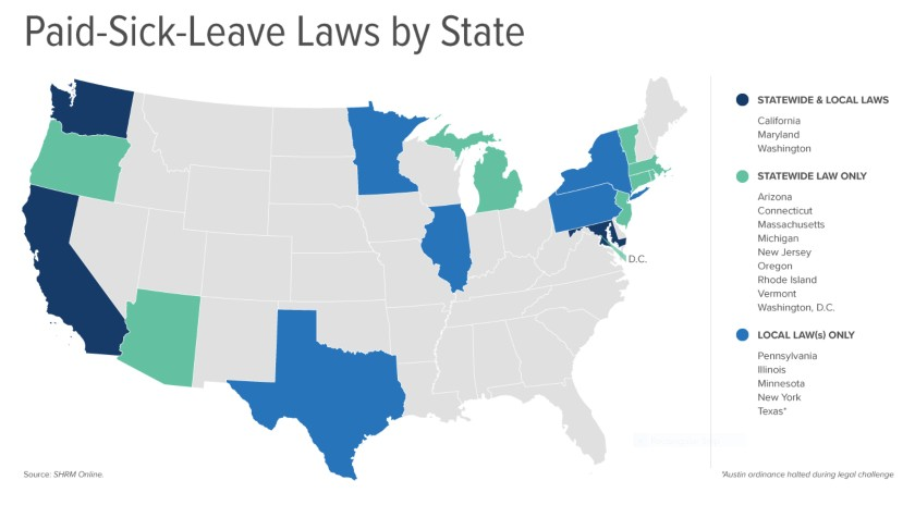 Screenshot of Paid Sick Leave Laws by State