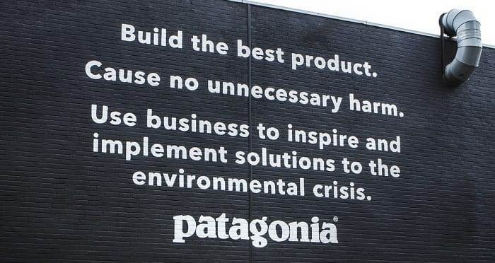 Screenshot of Patagonia Mission Statement