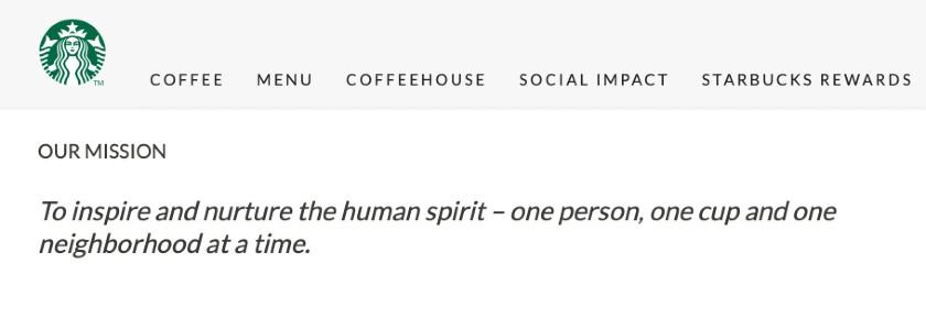 Screenshot of Starbucks Mission Statement