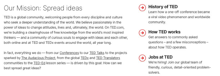 Screenshot of TED Mission Statement