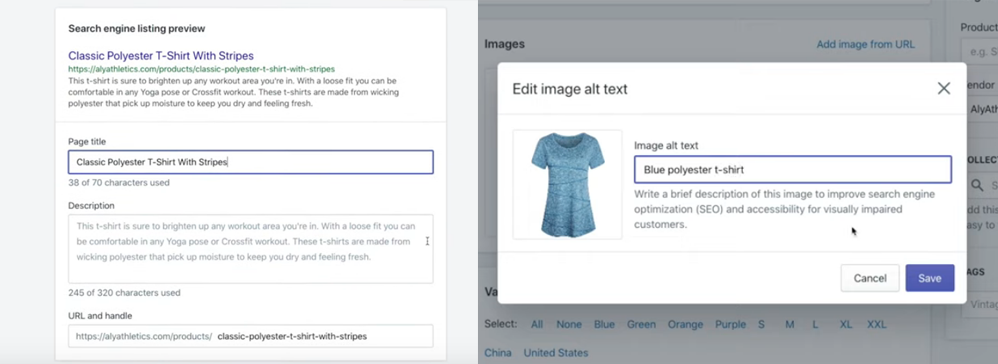 Adding alt-text in Shopify Product